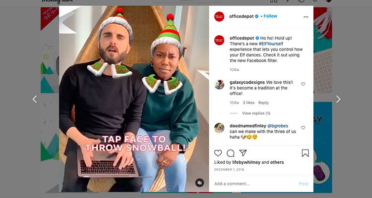 Interactive Instagram holiday post by Office Depot - ecommerce holiday planning
