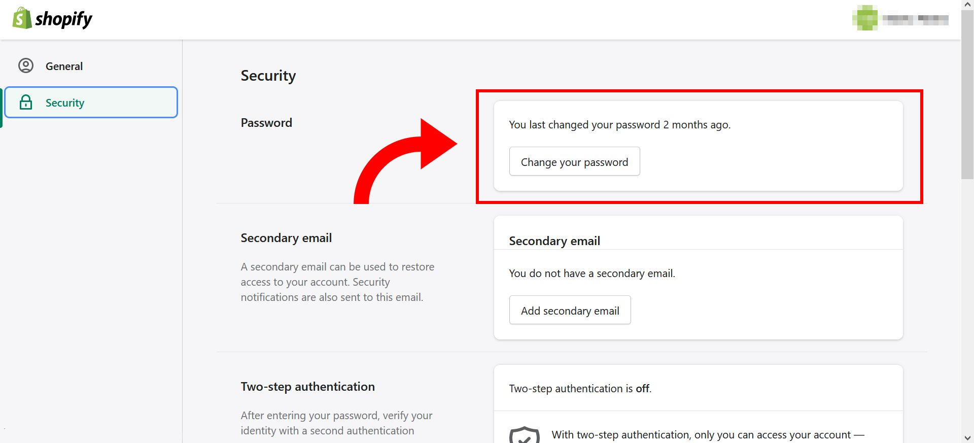 How to change Shopify store password - step 5