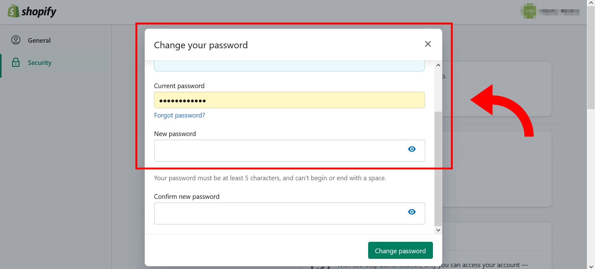 How to change Shopify store password - step 6