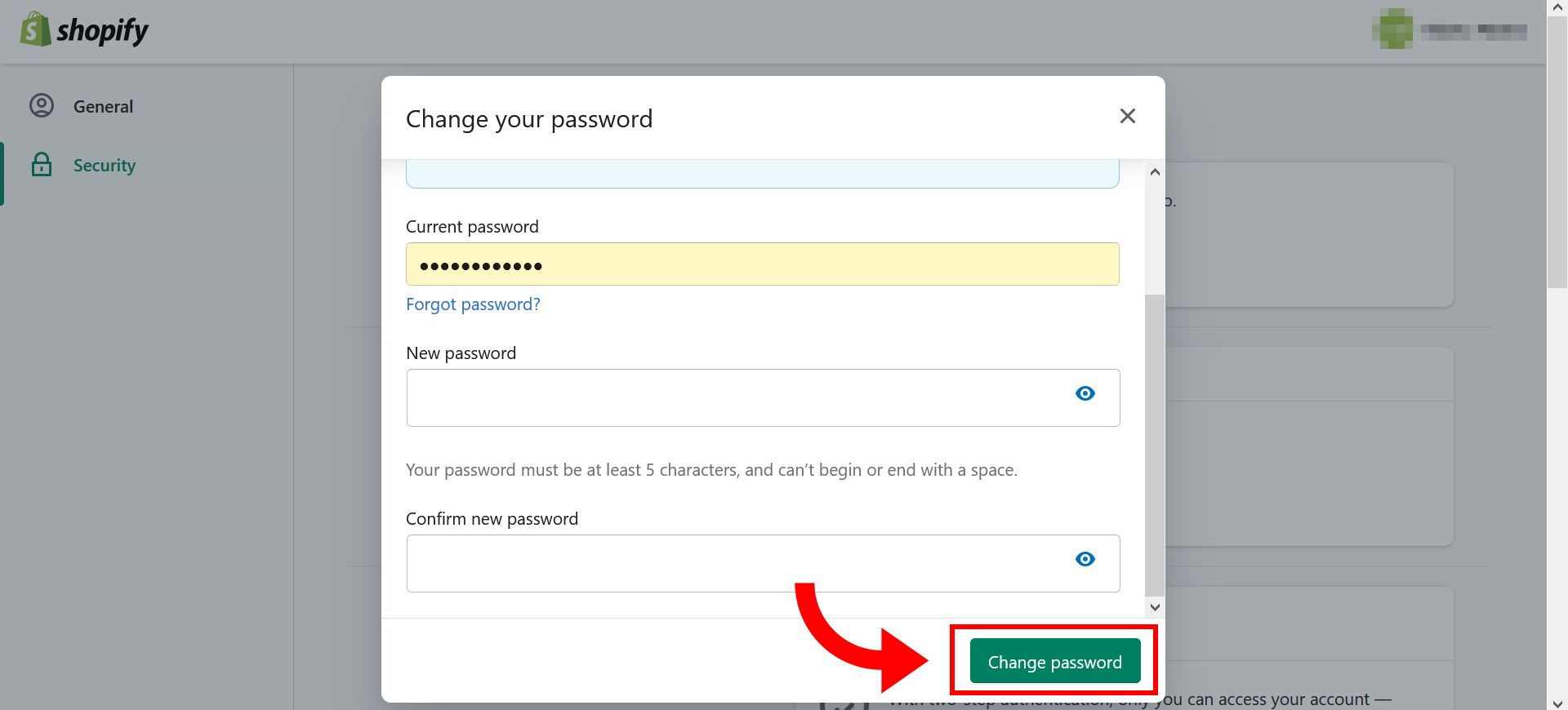 How to change Shopify store password - step 7