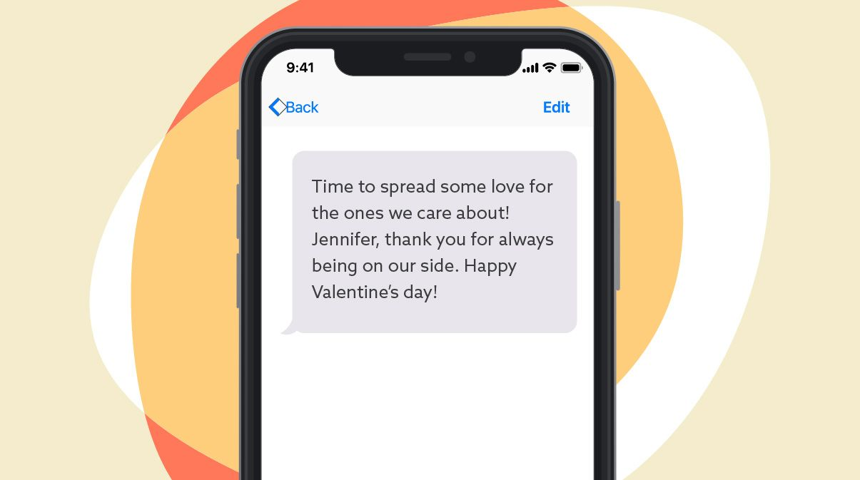 Valentine's day message expressing gratitude for customers