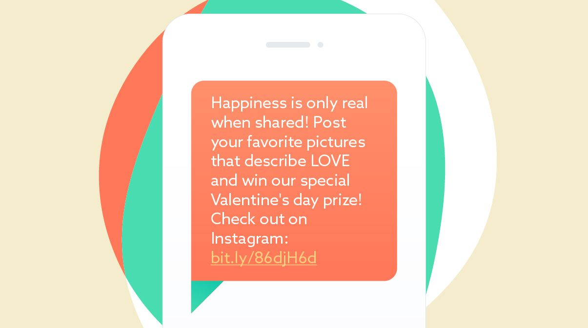 Valentine's day message template: invitation to join the contest